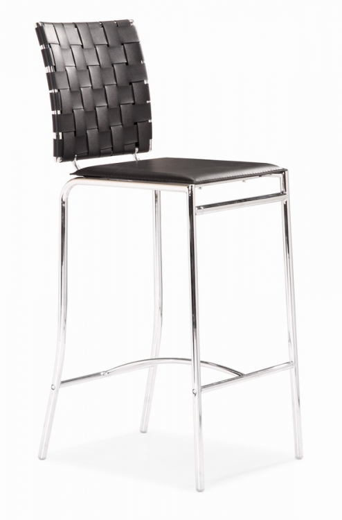 Criss Cross Counter Chair - Black - Zuo Modern