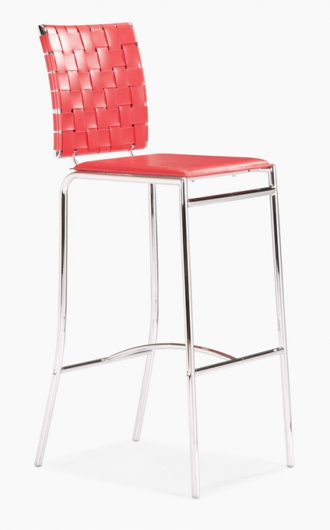 Criss Cross Counter Chair - Red - Zuo Modern