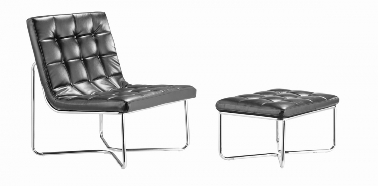 Waltz Chair and Ottoman - Black - Zuo Modern