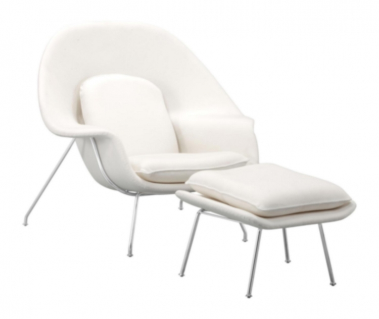 Nursery Occasional Chair & Ottoman - White