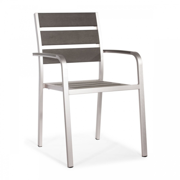 Township Dining Arm Chair - Brushed Aluminum