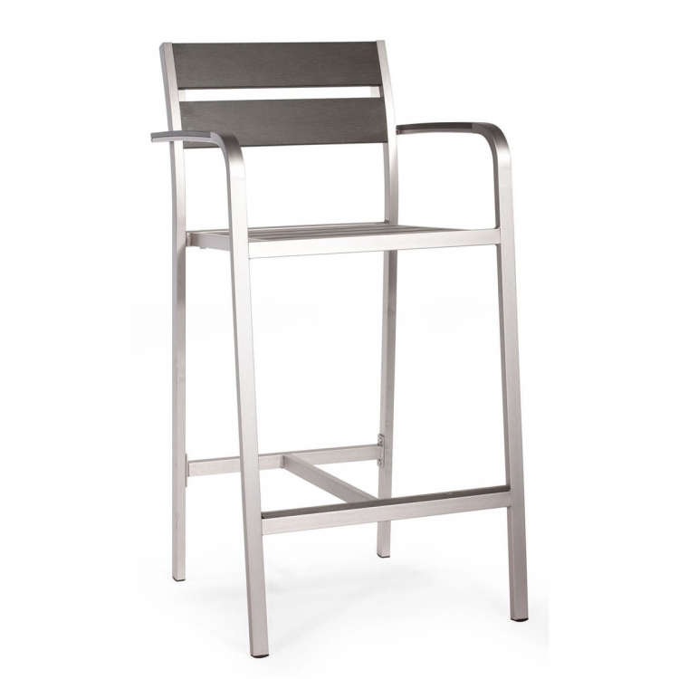 Megapolis Bar Arm Chair - Brushed Aluminum