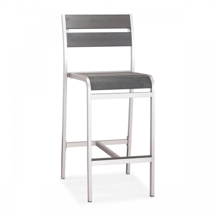 Megapolis Bar Armless Chair - Brushed Aluminum