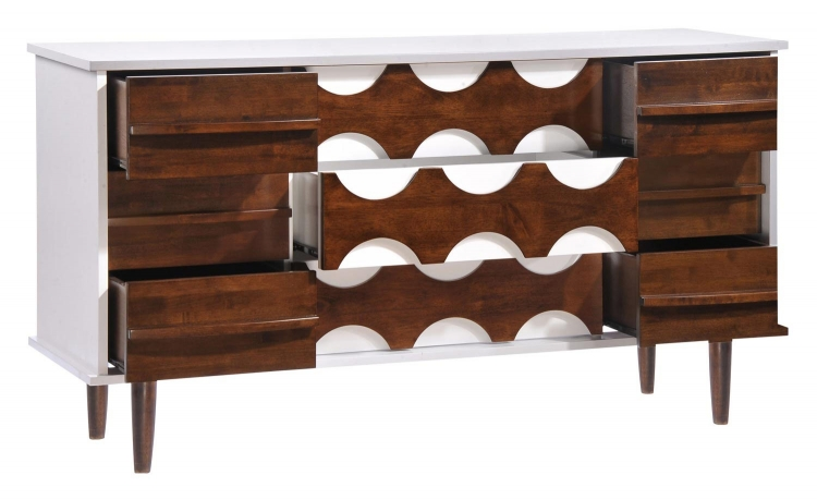 Seattle Double Dresser - Walnut/White