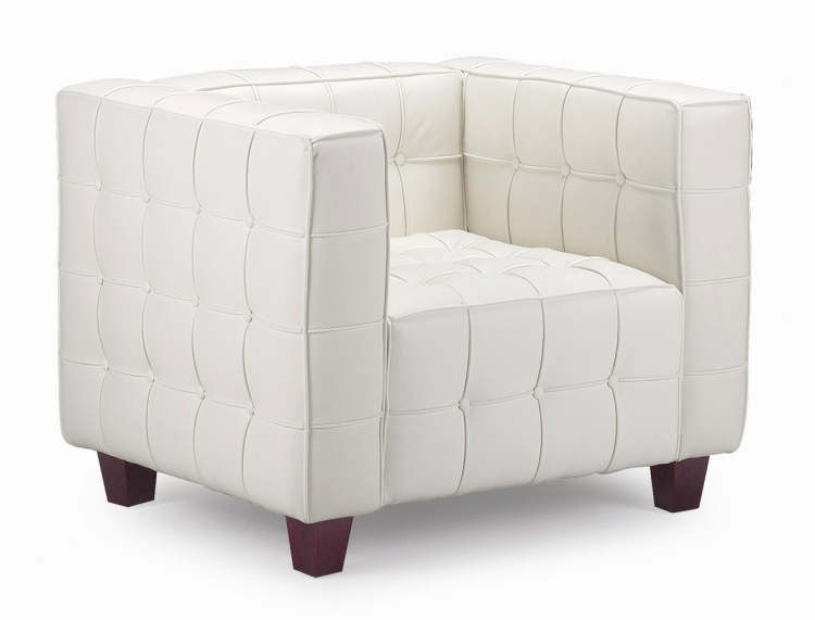 Button Armchair - White