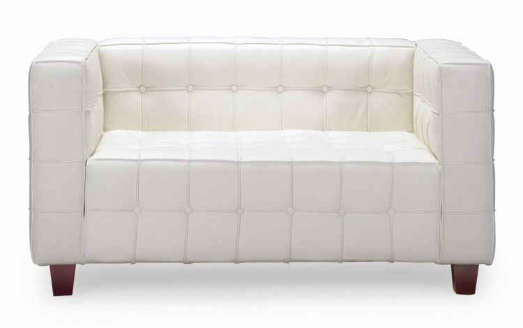 Button Love Seat - White - Zuo Modern