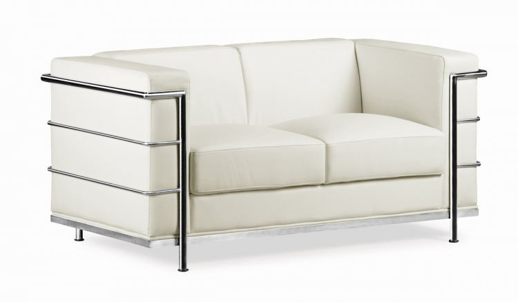 Fortress Love Seat - White - Zuo Modern