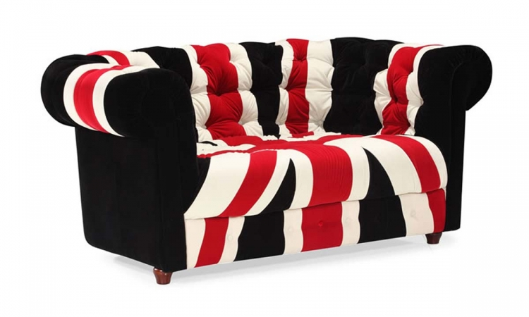 Union Jack Love Seat - Red, White & Black - Zuo Modern
