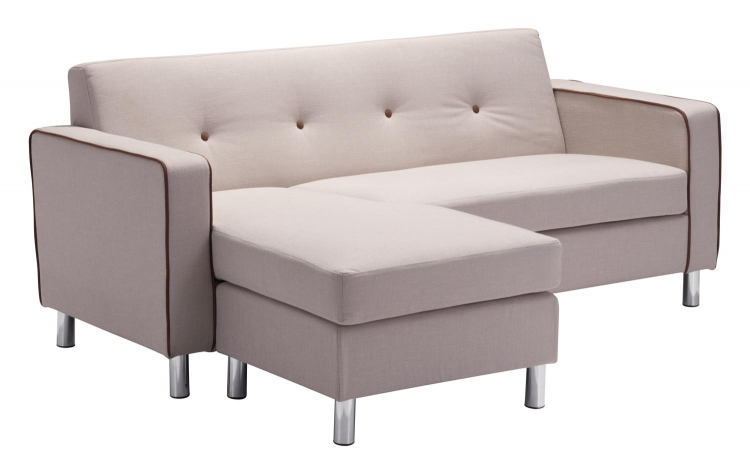 Ovide Sectional - Beige with Espresso Piping