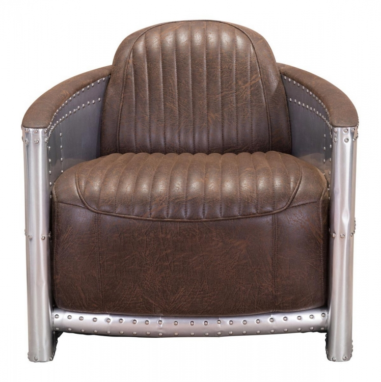 Fate Occasional Chair - Brown/Aluminum