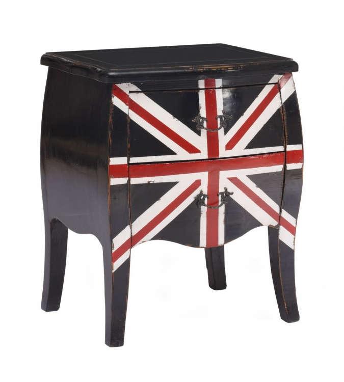 Union Jack Small Cabinet - Distressed Black