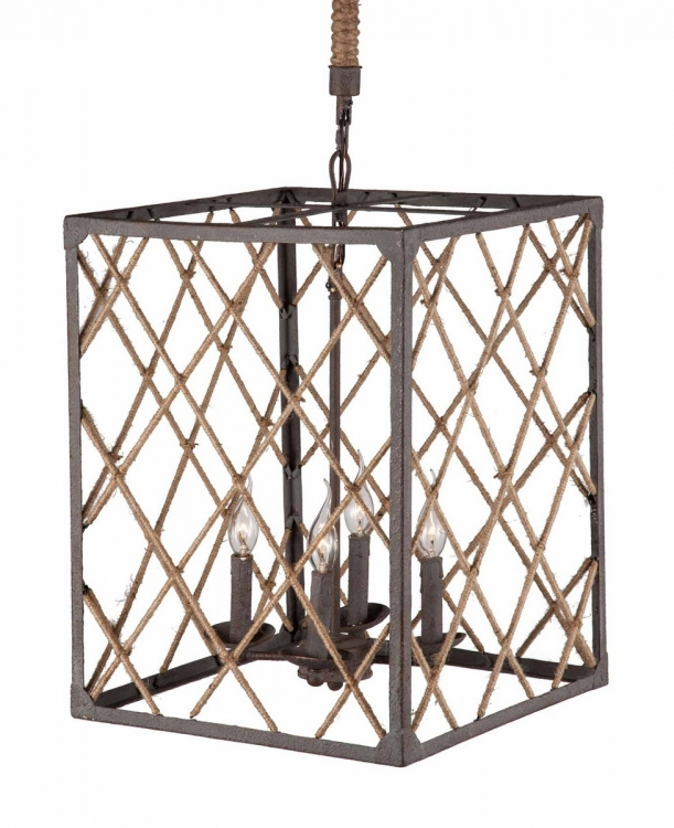 Shale Ceiling Lamp - Distressed Brown/Natural