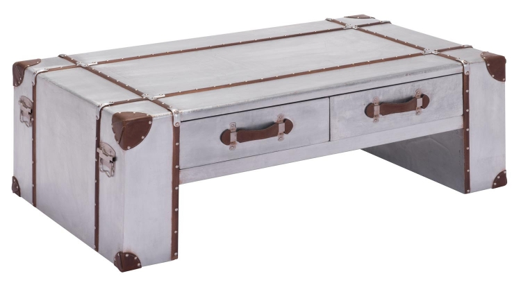 Kant Narrow Coffee Table - Distressed Aluminum
