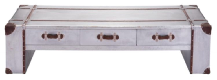 Kant Wide Coffee Table - Distressed Aluminum