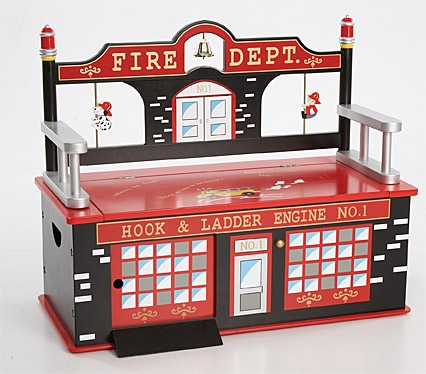 Firefighter Toy Box Bench-Levels of Discovery