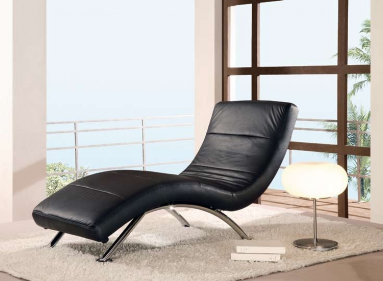 820 Ultra Bonded Leather Relax Chaise - Black - Global Furniture