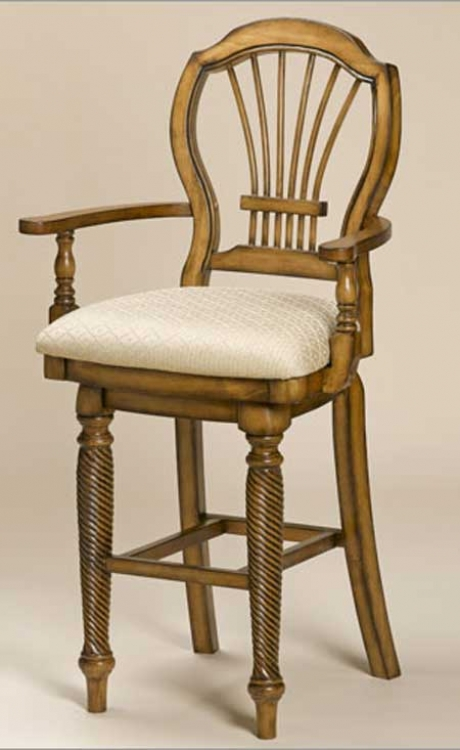 Wilshire Swivel Wood Counter Stool with Arms - Antique Pine