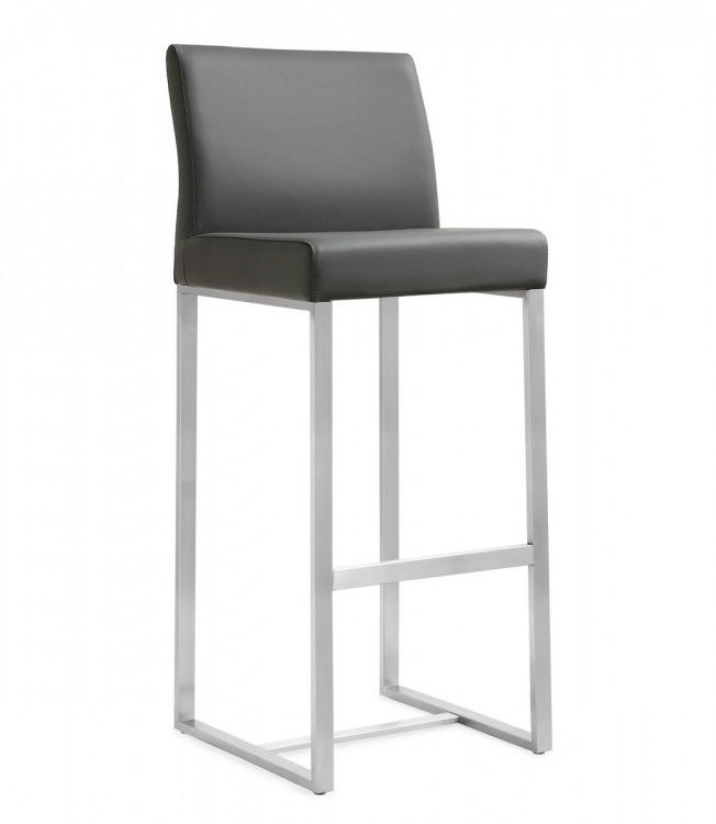 Denmark Grey Stainless Steel Barstool (Set of 2)