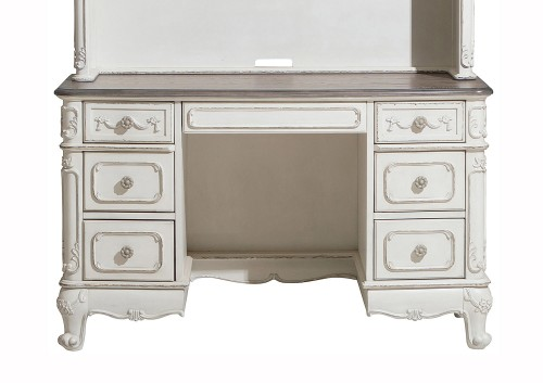 Cinderella Writing Desk - Antique White with Gray Rub-Through