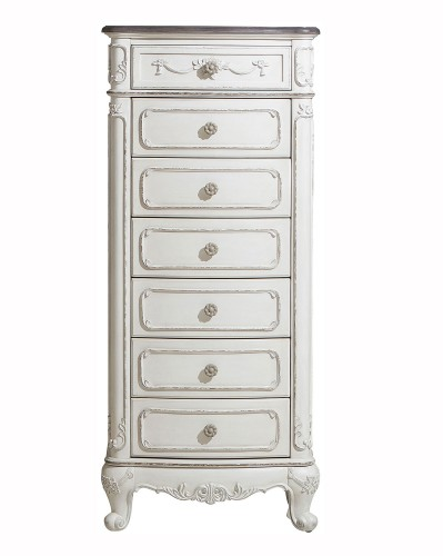 Cinderella 7-Drawer Tall Chest - Antique White with Gray Rub-Through