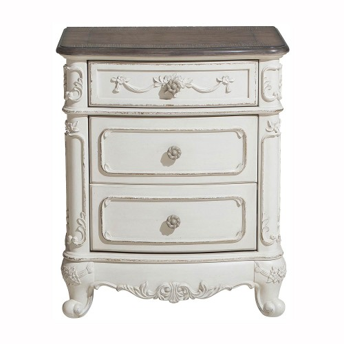 Cinderella Night Stand - Antique White with Gray Rub-Through