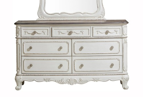 Cinderella Dresser - Antique White with Gray Rub-Through