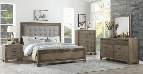 Caruth Bedroom Set - Gray Fabric