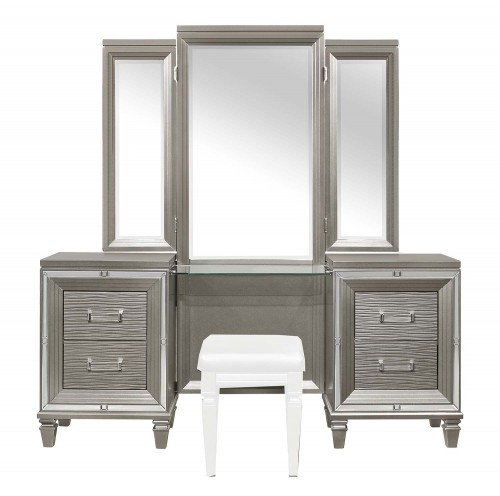 Tamsin Vanity Dresser with Mirror - Silver-Gray Metallic