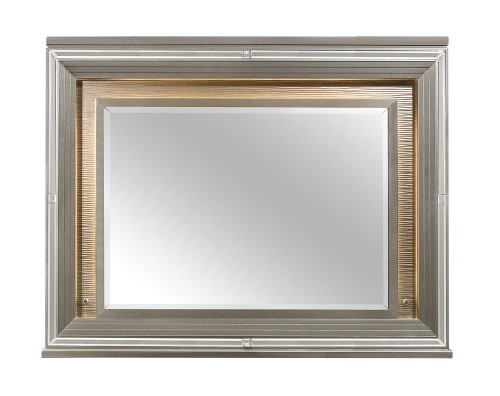 Tamsin Mirror with LED Lighting - Silver-Gray Metallic