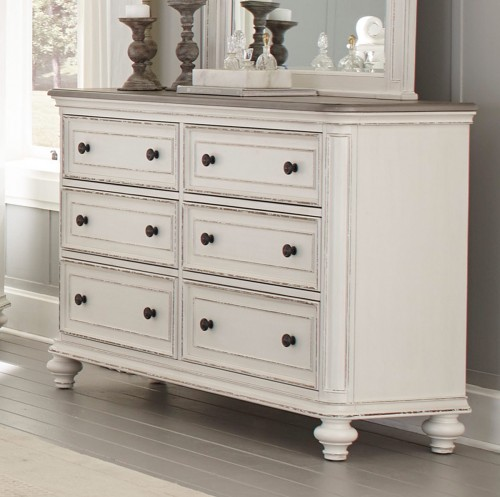 Homelegance Baylesford Dresser - Antique White Rub-Through Finish