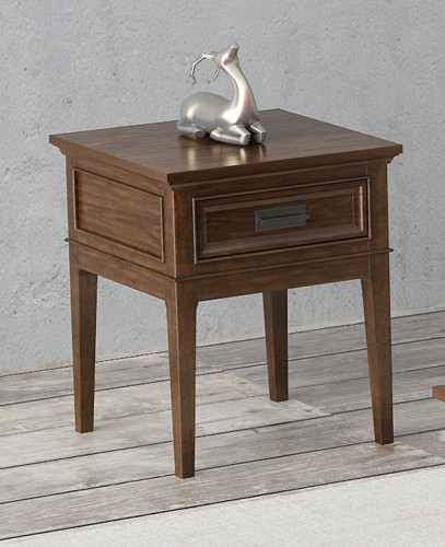 Frazier Park End Table with Functional Drawer - Brown Cherry
