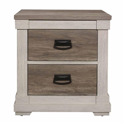 Homelegance Arcadia Night Stand - White Framing and Variegated Gray Printed Faux-Wood Grain Veneer