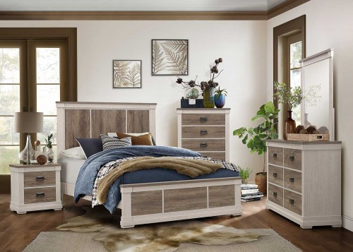 Arcadia Bedroom Set - White Framing and Variegated Gray Printed Faux-Wood Grain Veneer