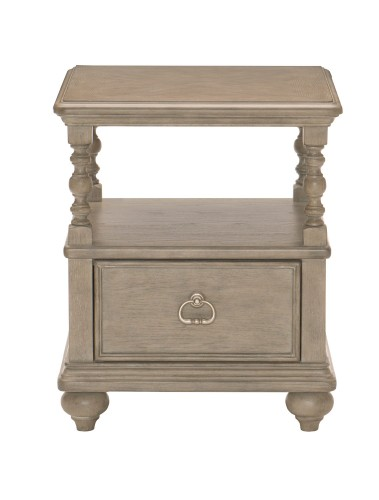 Grayling Down End Table with Functional Drawer - Driftwood Gray
