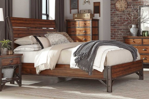 Holverson Platform Bed - Rustic Brown Milk Crate Finish
