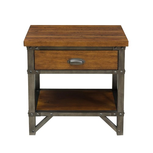 Homelegance Holverson Night Stand - Rustic Brown Milk Crate Finish