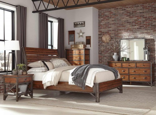 Homelegance Holverson Bedroom Set - Rustic Brown Milk Crate Finish