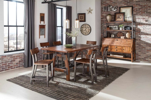 Homelegance Holverson Counter Height Dining Set - Rustic Brown