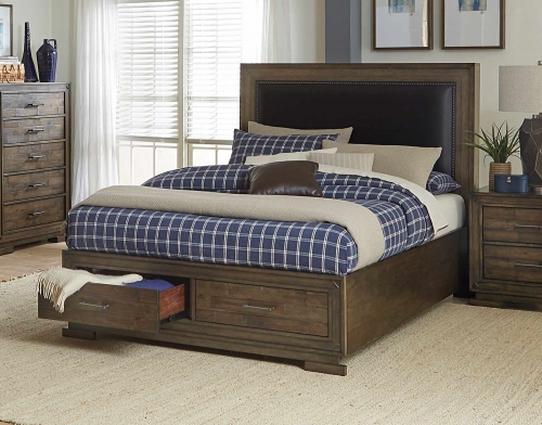 Griffon Platform Storage Bed - Antique Brown