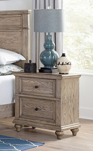Barbour Night Stand - Whitewash Finish over Oak Veneers