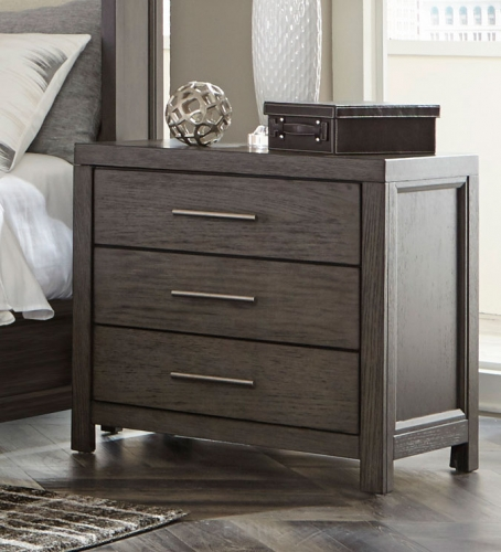 Fondren Night Stand - Dark Gray/Brown