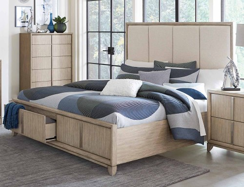 McKewen Upholsterd Platform Bed with Footboard Storage - Light Gray