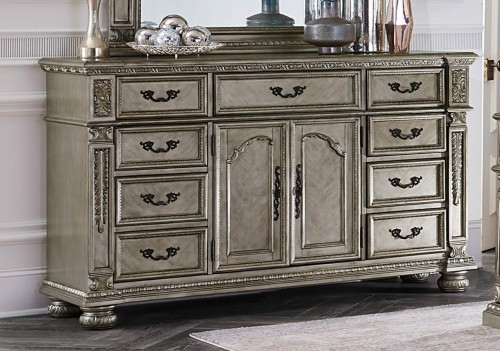 Catalonia Dresser - Traditional Platinum Gold Finish with Cherry Veneer
