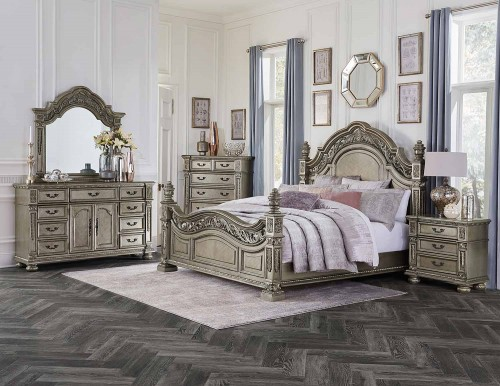 Catalonia Bedroom Set - Traditional Platinum Gold Finish with Cherry Veneer