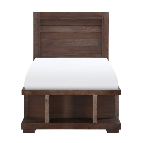 Wrangell Platform Bed with Storage Footboard - Medium Cherry