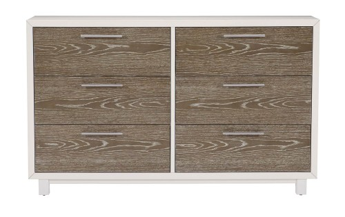 Renly Dresser - Natural Finish of Oak Veneer with White Framing