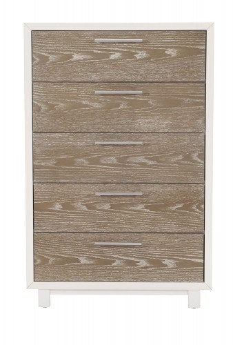 Renly Chest - Natural Finish of Oak Veneer with White Framing