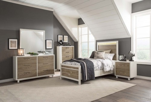 Renly LED Bedroom Set - Natural Finish of Oak Veneer with White Framing