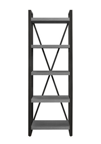 Dogue 5-Shelf Bookcase - Gunmetal - Gray