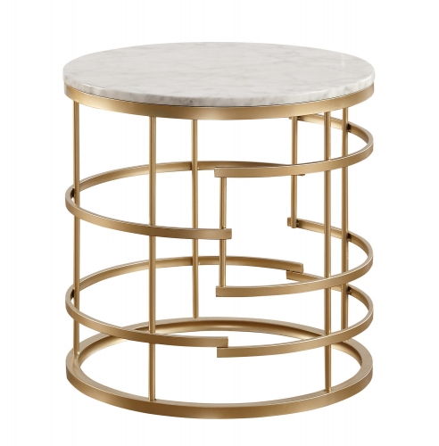 Brassica Round End Table with Faux Marble Top - Gold - White Marble Top
